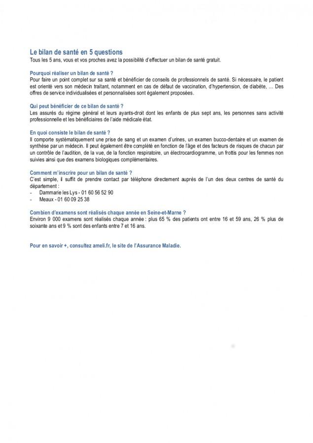 Articles novembre 2015-le bilan de santé en 5 questions pour publication